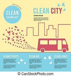 concept., nuage, protection, amical, vapeurs, échappement, affiche, city., ambiant, formulaire, écologiquement, butterflies., autobus