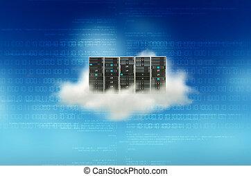 concept, nuage, serveur