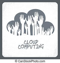 concept., nuage, vector., calculer