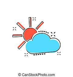 concept, nuages, business, éclaboussure, concept., effet, illustration, prévision, nuage, vecteur, pictogram., soleil, temps, comique, style., dessin animé, icône
