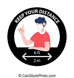 concept., nuevo, signo., distancing, normal, retener, su, distancia, social