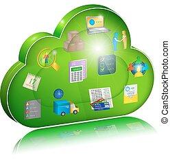 concept, numérique, application., gestion, entreprise, nuage, icône