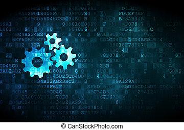 concept:, numérique, finance, fond, engrenages