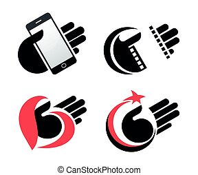 concept objects in hand vector icons eps10
