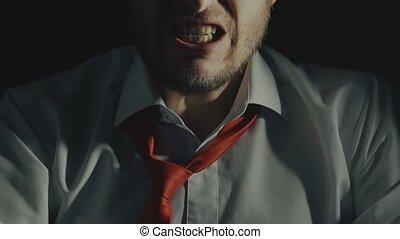 concept, obscurité, fâché, outragé, patron, chef, colère, ...