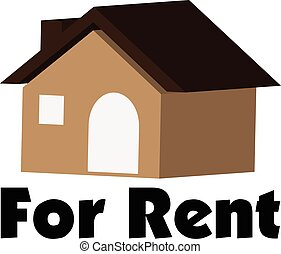 Concept of 3D vector house for rent in real estate market