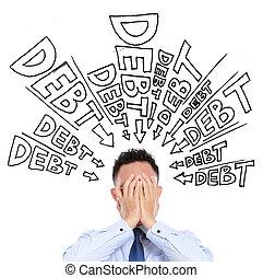 concept of a businessman frustration of unpaid debt