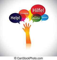 concept of a child or person in distress requesting help, support. This abstract vector graphic also represents person seeking love, care, aid, soccour, etc