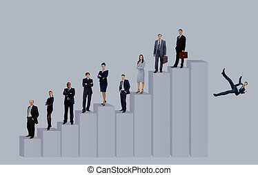 concept of a competent business team and career growth