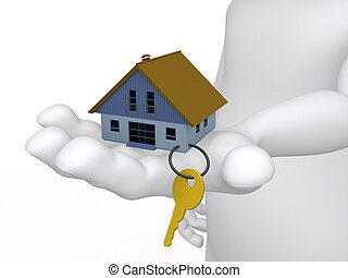 Concept of a hand holding a house and key in 3D