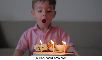 Concept of a happy family. Happy little boy of two years celebrates his birthday with his family, his mother and little sister helped him blow out the candles.