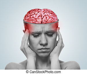 concept of a headache. open the skull and inflamed brain of a woman with pain.
