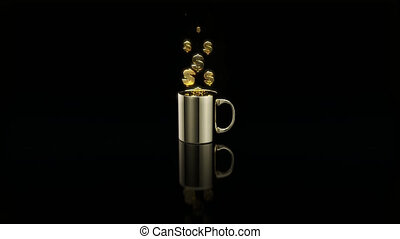 Concept of a hot cup of coffee with dollars