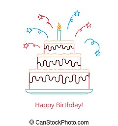 Concept of a large birthday cake with a candle and candy with the words happy birthday. Vector illustration in a linear style isolated on white background.