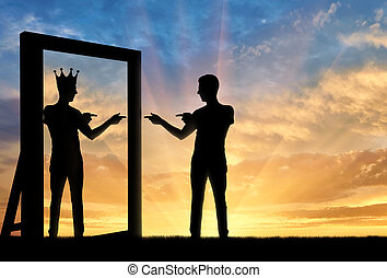 Concept of a narcissistic and egoistic man. Silhouette of a ...