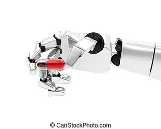 Concept of a robotic mechanical arm with drug. 3D