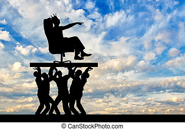 Concept of a selfish man with a crown on his head sitting in a chair and his subordinates