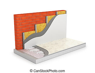 concept of a warm home. Underfloor heating and wall...