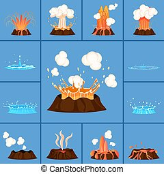 Concept of Active Volcano and Geyser in Action