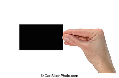 Hand holding a black business card