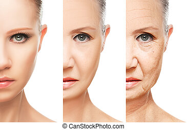 concept of aging and skin care isolated - concept of aging...
