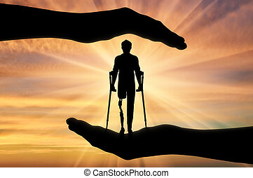 Concept of aid and care for disabled with a prosthetic leg