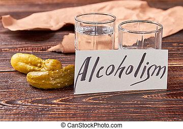 Concept of alcoholism, vintage table.