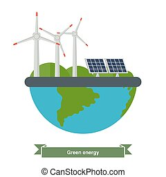 Concept of alternative energy sources - Illustration of a...