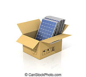 Concept of alternative energy. Stack of solar battery panels in the cardboard box. Enviroment protection.