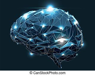 Human Brain - Concept of an Active Human Brain on a Dark ...