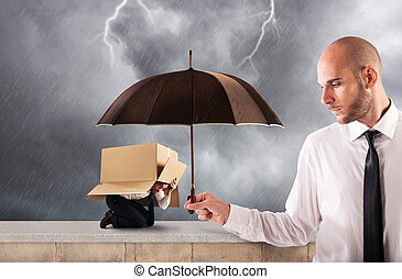 Concept of assistance in your business with a big businessman that holds an umbrella