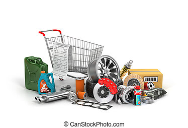 Concept of auto parts shopping
