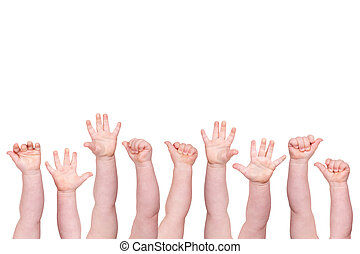 concept of baby hands on white background