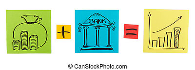 Concept of bank deposit. Colored paper sheets. Clipping path...