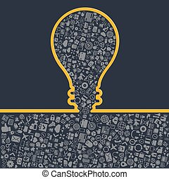 Concept of big ideas inspiration innovation, invention, effective thinking