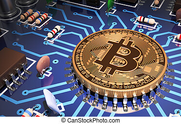 Concept Of Bitcoin Like A Computer Processor On Motherboard. 3D Scene.