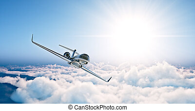 Concept of black luxury generic design private jet flying in...
