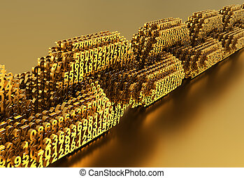Concept Of Blockchain. Gold Digital Chain Of Interconnected ...