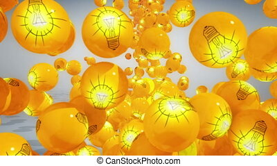 Concept of Brainstorming - Falling balls with light bubs...