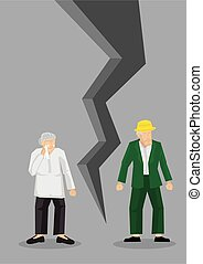 Creative cartoon vector illustration of sad old couple. Concept of breaking up relationship after argument. Message of crisis, failure, separation or divorce of couple.