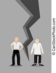 Creative cartoon vector illustration of sad couple turning away from each other. Concept of breaking up relationship after argument. Message of crisis, failure, separation or divorce of couple.