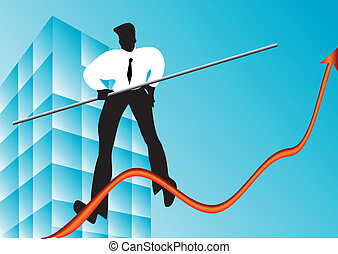 concept of business growth. rope walker and graphic