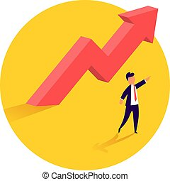 Concept of business growth with an upward arrow and a businessman showing the direction. Symbol of success, achievement.