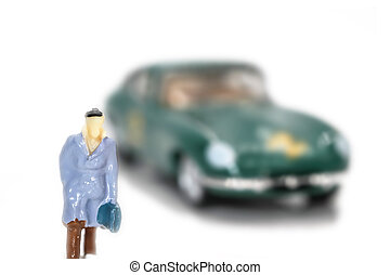 Concept of business man with sports car in the background