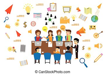 Concept of business meeting, exchange ideas and experience, coworking people and discussion, advertise production vector illustration.