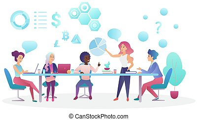 Concept of business meeting in coworking office center. Creative people team talking and working together vector illustration.