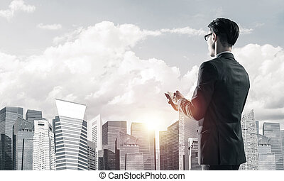 Concept of business success and control with confident boss agai