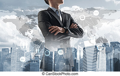 Concept of business success and control with confident boss against cityscape background