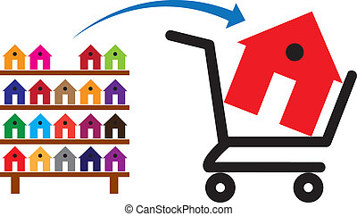 Concept of buying a house or property on sale. The shopping trolley with a house in it is symbolic of the sale. The rack of colorful houses show residences and property available for purchase