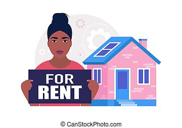 Concept of buying a property, rent, home loan. Vector illustration in a flat style